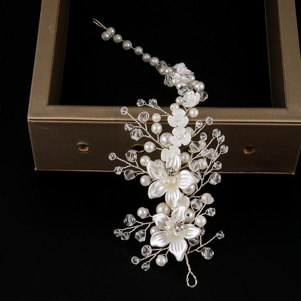 1 Pc Nupcial Tiara Acessórios Do Casamento Lindo Pente de Cabelo Floral Headband Mulheres Jóias Pérola Hairband Enfeites de Cabelo Cadeia Macia