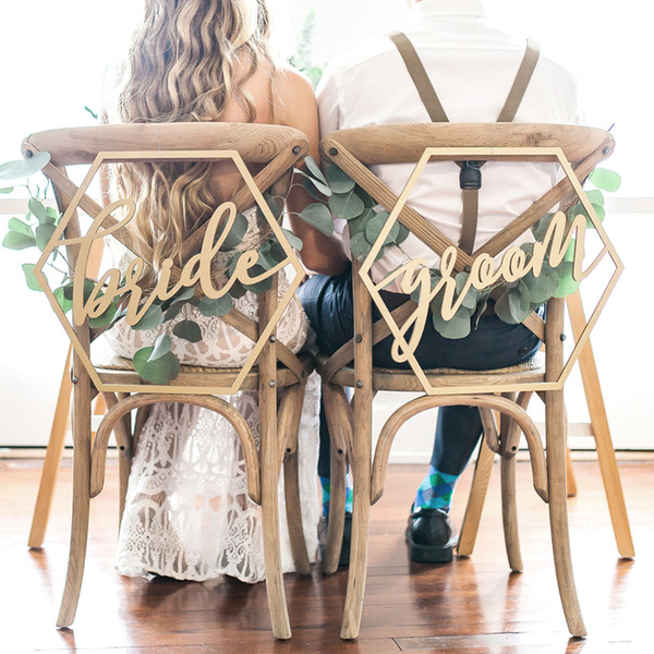 Chaise en bois Bannière Chaise BrideGrooms Signe DIY Décoration de mariage pour fiançailles Fournitures de fête de mariage en vrac Commande Grand Discount