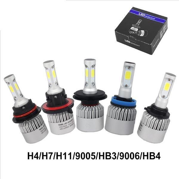 2 Unids H4 LED H7 H11 9005 9006 HB4 COB Chip S2 Auto Car Faros 72W 8000LM Alto haz bajo Todo en uno Automóviles Lámpara 6500K 12V