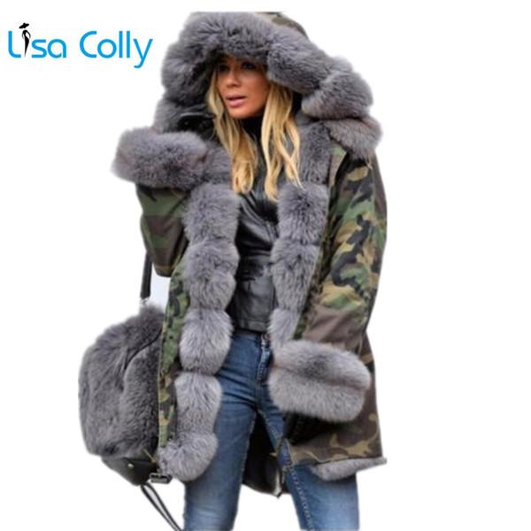 Lisa Colly Talla grande Chaqueta de invierno con abrigo de algodón con capucha abrigo Abrigo de piel sintética Chaqueta cálida Parka mujeres gruesas pieles