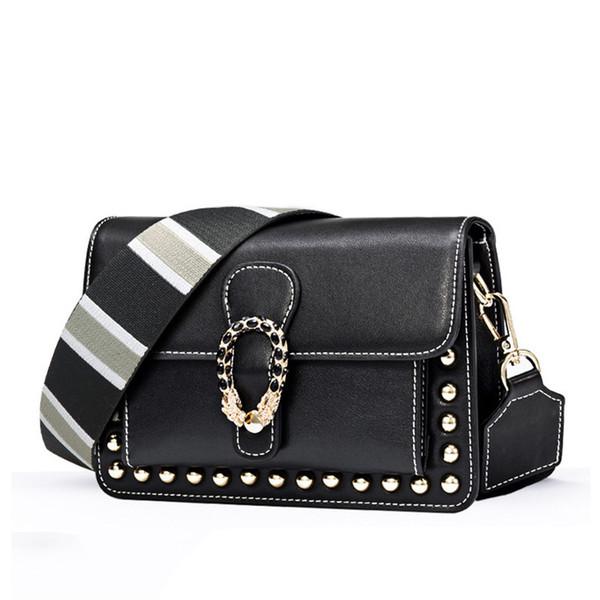 Belle2019 Bag Small Square Demeanour Genuine Leather Woman Ma'am Single Shoulder Package Oblique Satchel
