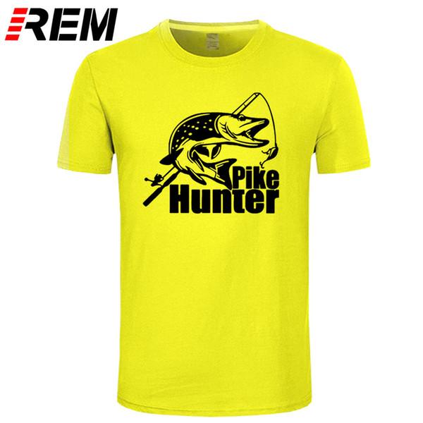 wholesale Summer Hot Funny Fishings rod Hook Fish Tshirts Pike Hunter T-shirt High Quality Men Cotton T shirt Casual Brand Tops Tees