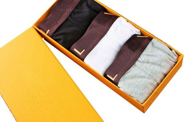 2019 Sexy algodón de lujo de los hombres de los pantalones cortos del boxeador de la ropa interior Calzoncillos de moda gay Moda cómoda elástica hombres boxeador calzoncillos cortos Sin caja