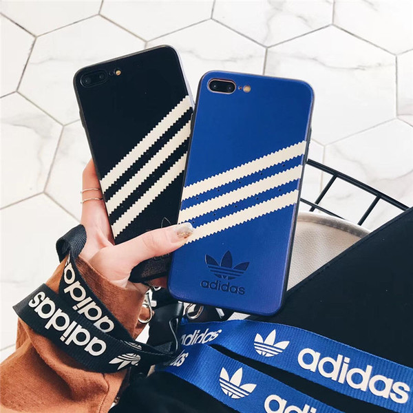 Nueva moda con cordón Adi Stripes para iPhone 6s Plus XS X Capa Blanco fuera de la pintura rayas cubierta para iPhone X XS max xr 7 8 Plus Duda