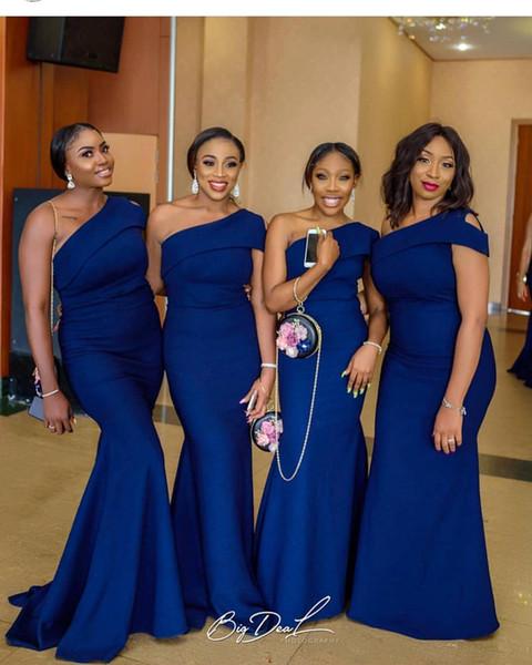 Elegante Azul Royal Sexy Um Ombro Longo Dama de Honra Vestidos de Dama de Honra Africano Cetim Vestidos de Dama de Honra para Casamentos