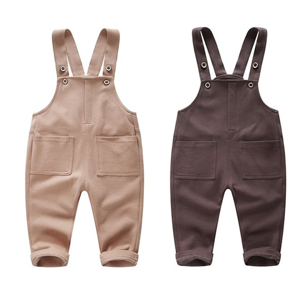 1-4 Year Boys Girls Casual Cotton Overalls Kids Suspender Jumpsuit Baby Long Pants Children Spring Autumn Trousers Wholesale