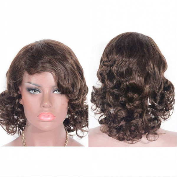 Mongolian Hair Loose Curly Full Lace Wig With Baby Hair Medium Brown Human Hair Lace Front Wig 12 Inch April Lace Wig Monofilament Wigs From Pinghair