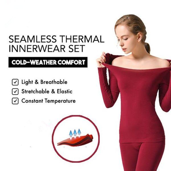 Nouveau Sous-vêtements thermiques sans coutures Ensemble de sous-vêtements thermiques ultra-minces à haute élasticité
