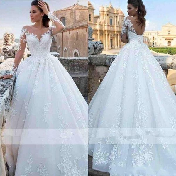 Vestidos Wedding Dresses 2019 Modest Sheer Long Sleeve Appliques Ball Gown Bride Wedding Gowns With Lace-up Back BC1693
