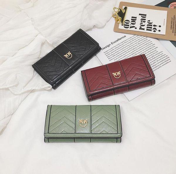 Portafoglio donna all'ingrosso di marca borsa coreana ricamato lungo portafoglio moda ondulata in pelle sacchetto di carta personalità portafoglio di inarcamento rondine