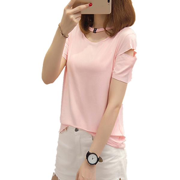 Mulher 2019 Novo Verão T-shirt Coreano Harajuku Letras Impresso Oco Patchwork camiseta Para Mulheres Casuais Camisas Brancas Tops M-XXL