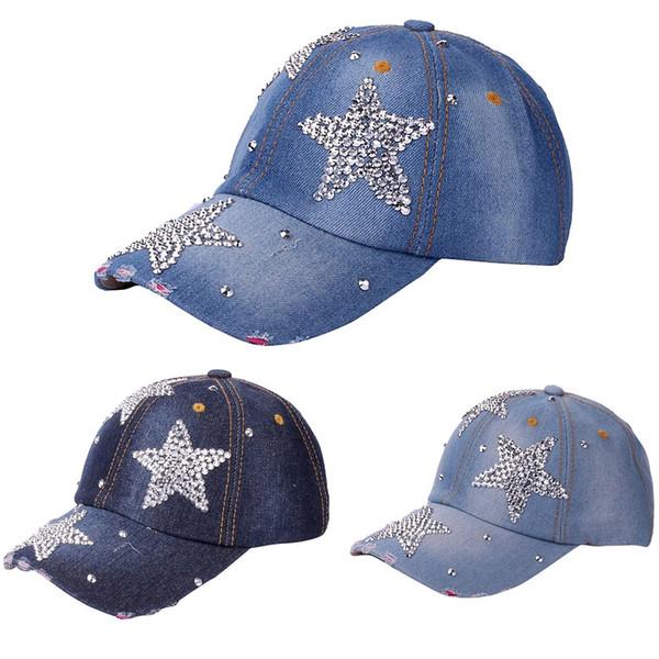 réglable étoile à cinq branches des femmes dames casquette de baseball mode casual strass denim baseball maille chapeau femme casquette