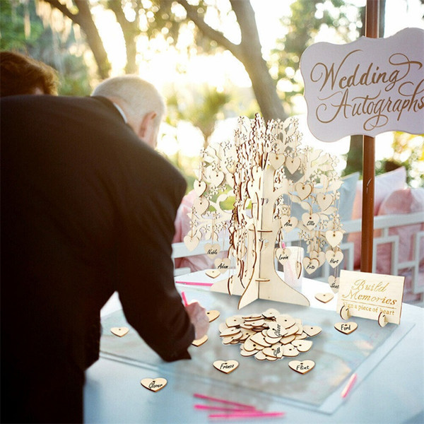 Segno di nozze Guest Book Wishing Tree Signature Guest libri con accessori per la sposa cuori di legno Ciondolo Decor Ornamenti per il partito