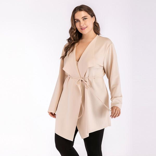 Casual Windbreaker Plus Size Belt Bandage Beige Woman Jacket Autumn Streetwear Trending Products 2018 Big Turn-down Collar Coat