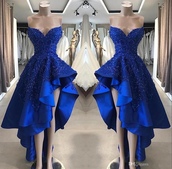 Vintage bleu royal court haut bas robes de bal réel Image une ligne perlée appliques chérie asymétrique longues robes de soirée