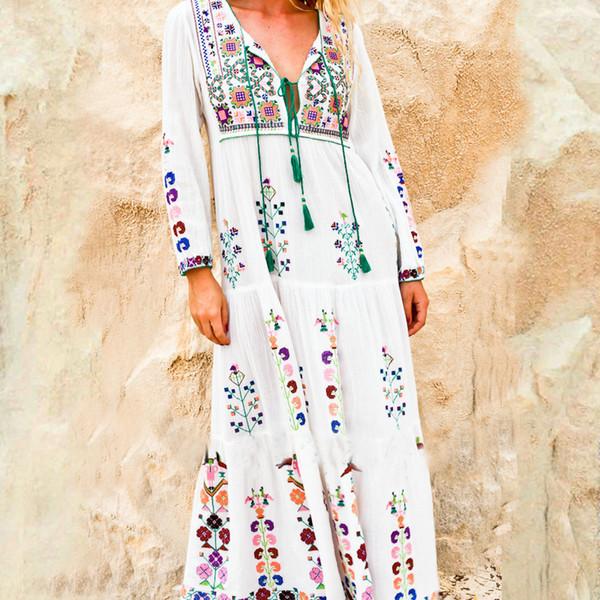 Algodón Floral Bordado Maxi Vestido O-cuello de la borla de manga larga Blanco Vestidos de verano Vintage Boho Chic vestido de mujer marca de ropa J190511
