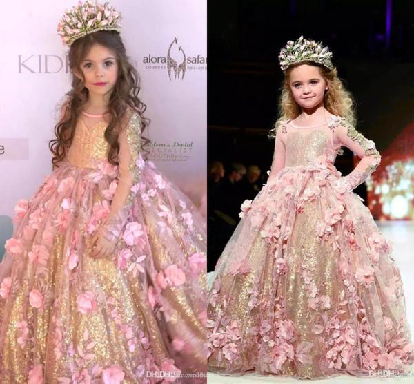 2019 Lüks Sparkly Balo Çiçek Kız Elbise Tırmanmak El Yapımı Çiçekler Prenses Kız Pageant elbise Kız Birtday Pageant elbise