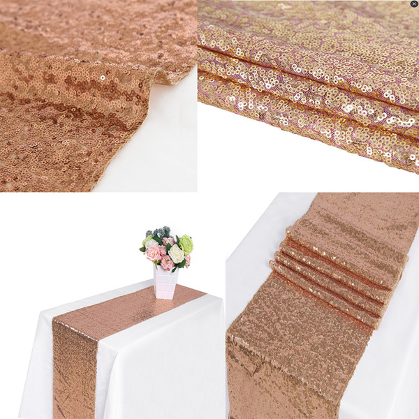 best selling 1pcs Rose Gold 12x72 Inch Sequin Table Runner Sequin Runner Wedding Party Dinner Reception, Bridal Wedding Runner,Christmas decorations