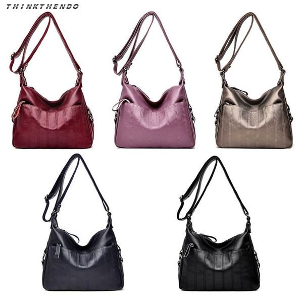 THINKTHENDO Fashion Women Retro PU Leather Soft Multi-Pocket Crossbody Bag Lady Sling Shoulder Bag Messenger Satchel Handbag New