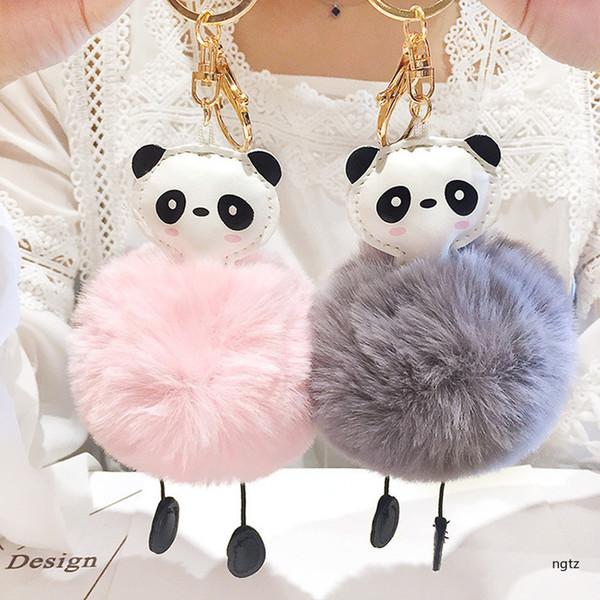 2018 Korean Girl Cute Bag Car Ornaments Artificial Leather Animal Cartoon Panda Hair Ball Key Chains for Women Accessories Gift