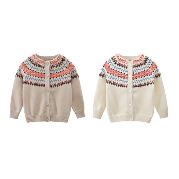 Pull chaud enfants pour les garçons filles Manteau à manches longues automne Pulls pour enfants Nouv bébé Pull Cardigan en tricot de coton 1-9T