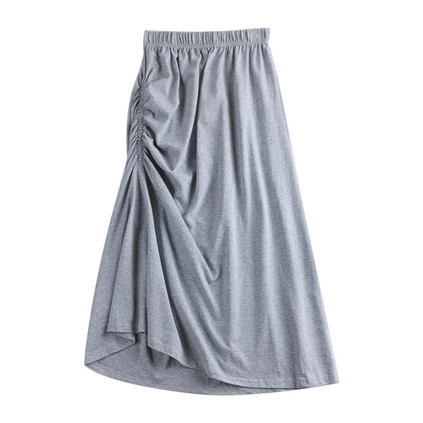 cinza preto flexível trecho de cintura alta midi flare uma linha de saia assimétrica do vintage para as mulheres verão saias das mulheres saia saias
