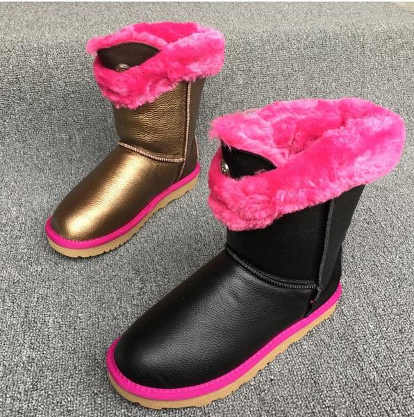 Nouvelles bottes d'hiver en cuir pour femmes tube épaississant anti-niveau fond bottes sauvages antidérapantes