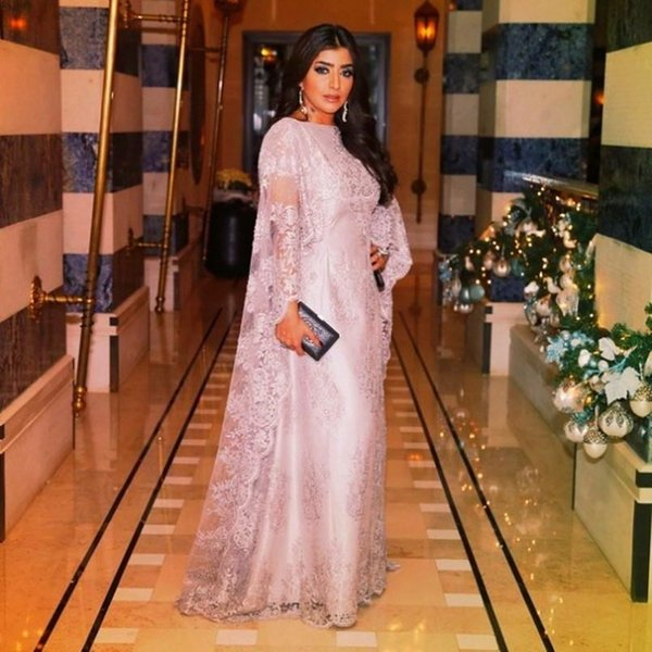 Kaftans Elegant Dubai cap Sleeve Muslim Evening Dresses Pink Lace Arabic Style Evening Gown prom Dresses China party dress