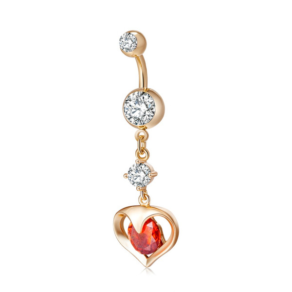 Hollow out love heart zircon crystal Surgical Steel Belly Button Rings Sexy Dangle Navel Piercing Rings Rhinestone Body Jewelry