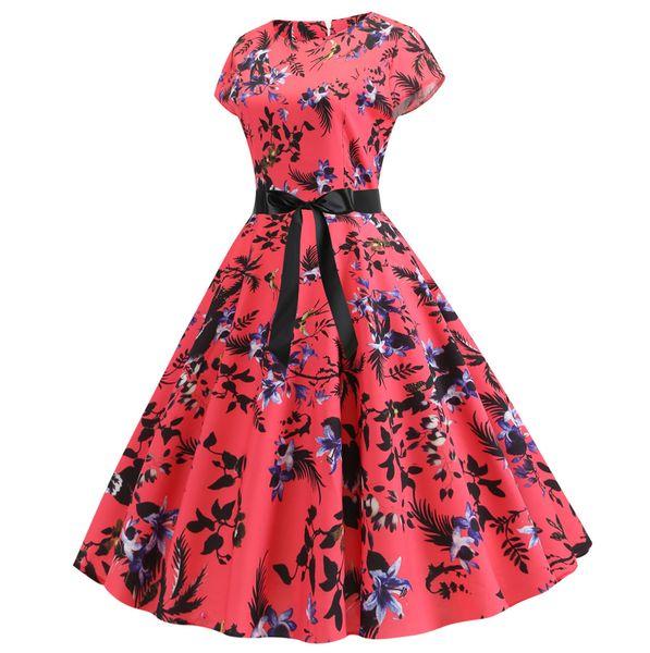 Womens Vintage Floral Print Short Sleeve Bodycon O-Neck Evening Party Dresses High Elastic Waist Vintage Dress vestidos verano