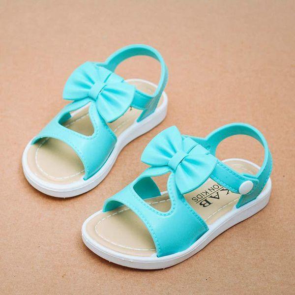 Yaz Çocuklar Sandalet Kız Sandalet Pembe Yay 2019 Nefes Yumuşak Deri Bebek Mavi Moda