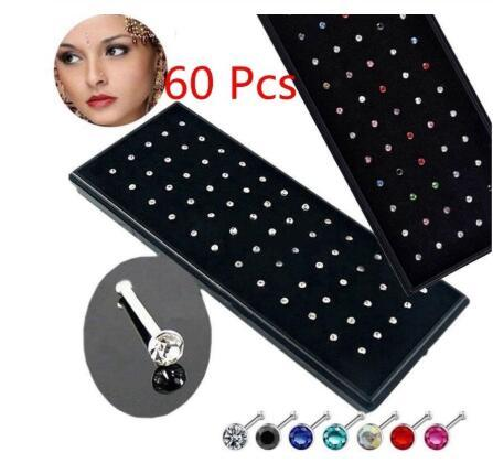 60 pieces/pack Stainless Steel Crystal Nose Ring Set Women Girl Stainless Steel Nose Piercing Crystal Nose Stud Lot Body Jewelry