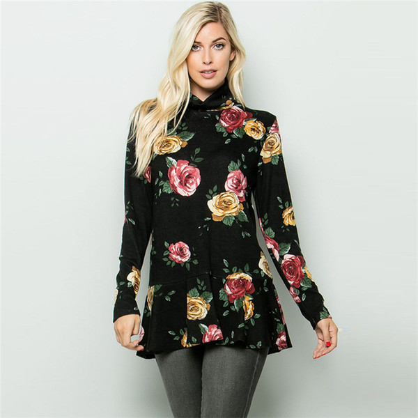 T-shirt da donna autunno Designer T-shirt stile cinese Stampa fiori maniche lunghe colletto alla coreana T-shirt moda donna