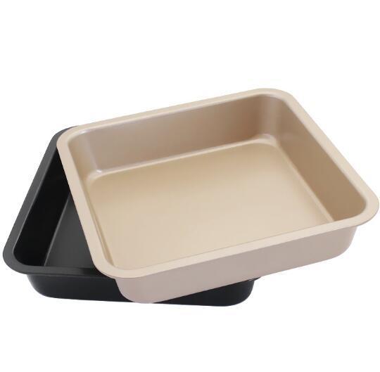 DHL Pizza quadrata per dolci Teglia da forno in acciaio al carbonio Bakeware Biscotti antiaderenti Stampi da forno Jelly Roll Pans Piatti Ovenware 22,5 cm * 22,5 cm * 5 cm
