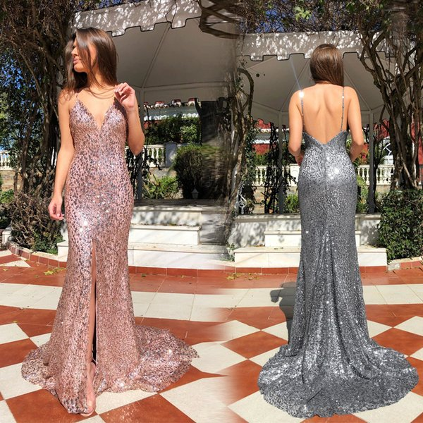 2019 Sexy Deep V Neck Gold Mermaid Prom Dresses Long Open Back Sequined Formal Evening Gowns Sparkly Sequin Celebrity Party Dresses