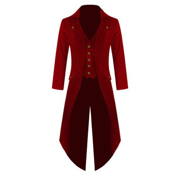 Мужские средневековые костюмы хэллоуин косплей одежда смокинг длинные форменные платья ренессанс Cos благородный панк мужское твердое пальто S-4XL
