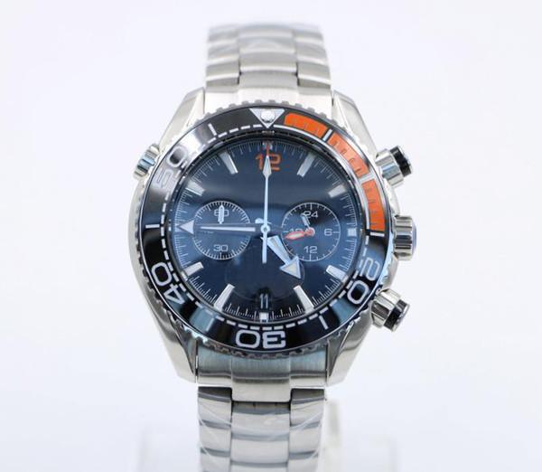 2019 3 Styles 44MM Masculine Mens Quarz Chronograph Silver Diver Wristwatches Famous Ceramic Bezel Butterfly Buckle