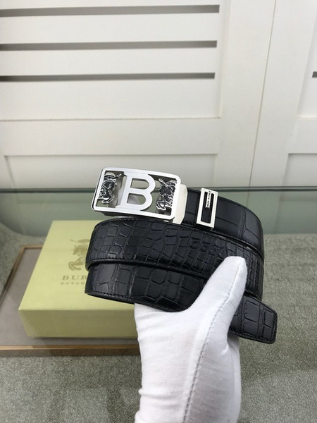 New automatic steel buckle first layer cowhide crocodile pattern imported sliding teeth Mens Belt Authentic Official Belt With Box