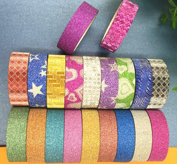 best selling 2016 Self Adhesive Glitter Washi Tapes DIY Stationery Crafts Scrapbooking Decorative Masking Paper Tape Office School Supplies
