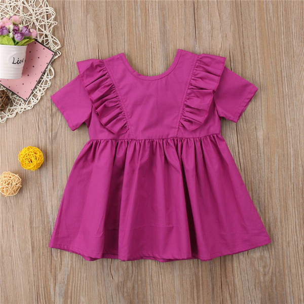 Casual Kids Baby Girls Summer Princess Leisure Dress Ruffle Back Bow Plain Dress Girl A-Line O-Neck Party Cotton Sundress 2-7Y