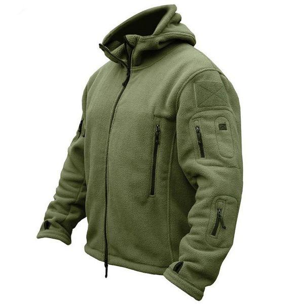 Outono homens jaqueta de lã Tactical soft shell com capuz Jacket mens inverno Multi-bolso zipper casaco Polar Exército Quente outwear