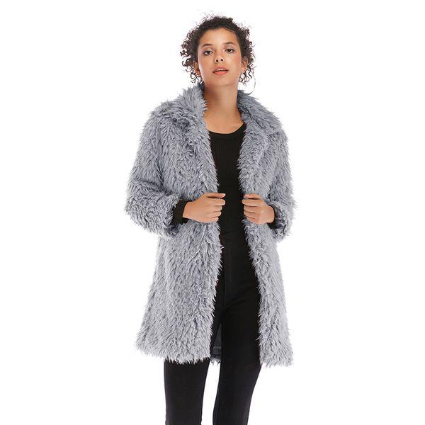 Designer Womens Faux Fur Fashion Solid Womens Long Sleeve Slim Coat Donna Casual Fleece Warm Clothes