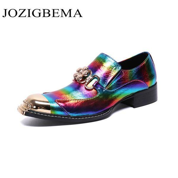Designer Handmade Multicolor Herren Schuhe Party Prom Formal Dress Schuhe für Männer Big Size Square Toe Leder Oxford