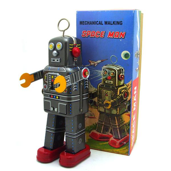 [Melhor] Adulto Coleção Retro Wind up brinquedo Lata De Metal O robô Espacial brinquedo Mecânico Clockwork figuras de brinquedo modelo crianças presente