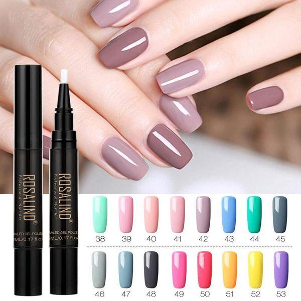ROSALIND Vernis à ongles solide UV semi-permanent hybride UV Gel pour les ongles Vernis 5ML Brush Pen Nails Soak Off Top Gel Gel Blanc Laque