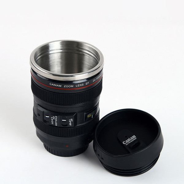 2 Colors Durable DIY Stainless Steel Vacuum Flasks Travel Coffee Mug Cup Water Coffee Tea Camera Lens Cup with Lid