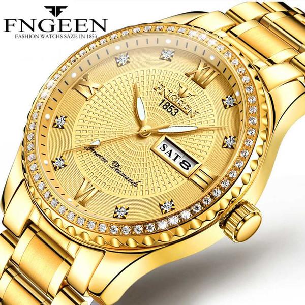 Otantik Adam İzle Erkek Noble Altın Olmayan mekanik Saatler Çelik Aydınlık Su Geçirmez Tarih Hafta Analog Ekran Altın Erkekler İzle