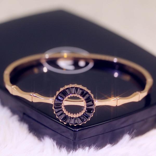 Nuevo acero de titanio tendencia de bambú personalidad de la moda creativo de la flor par brazalete de la pulsera del brazalete del diseñador para las mujeres