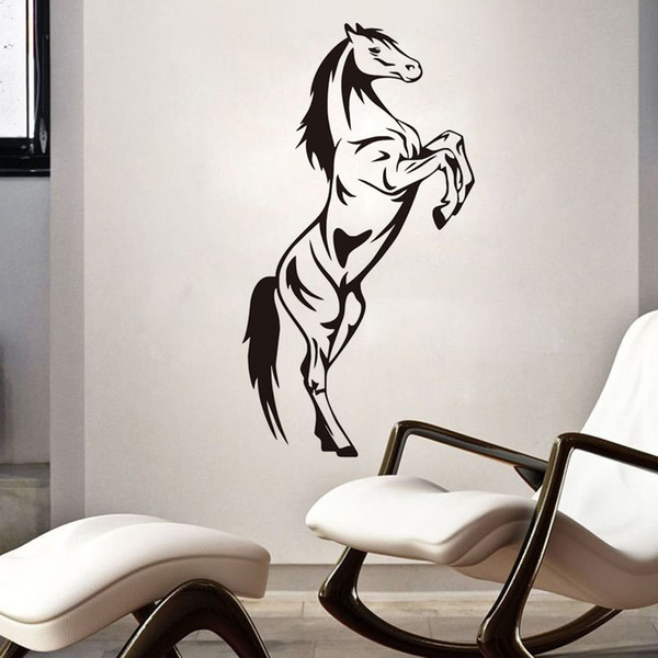 DCTOP Vintage Jumping Horse Animal Wall Stickers For Living Room Removable Vinyl Wall Art Decals Home Decoration Accessories