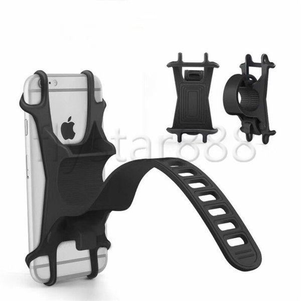 Silicone Bike Handlebar Cell Phone Holder CAR Bracket Mount Bump Protection Shockproof Elastic Antislip For iphone xs max xr 8 plus S10 S9